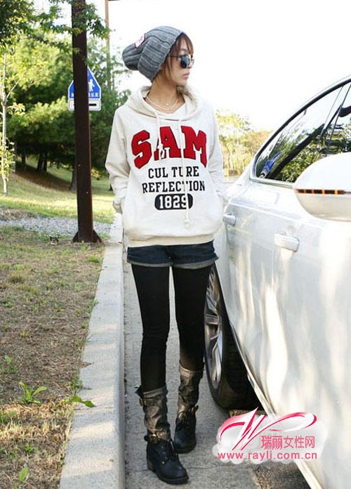 SAM字母休闲连帽卫衣外套