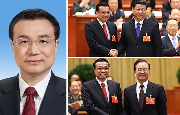 组图:李克强当选国务院总理 与习近平温家宝亲切握手