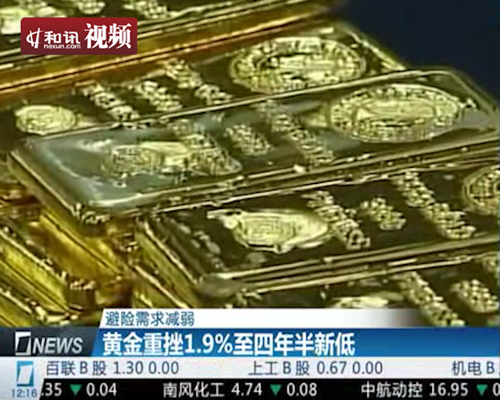 黄金重挫1.9 四年半新低